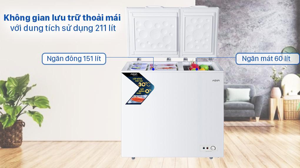 Tủ đông AQUA 211 lít AQF-C3102S - Dung tích sử dụng 211 lít