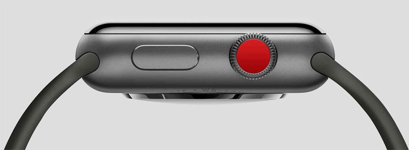 Đồng hồ Apple Watch 3 có gắn SIM - Trang bị nút ấn - xoay Digital Crown màu đỏ nổi bật và nút nguồn