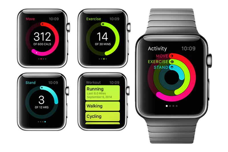 Các chế độ theo dõi sức khỏe trên Apple Watch S3 GPS, 42mm viền nhôm, dây cao su màu đen