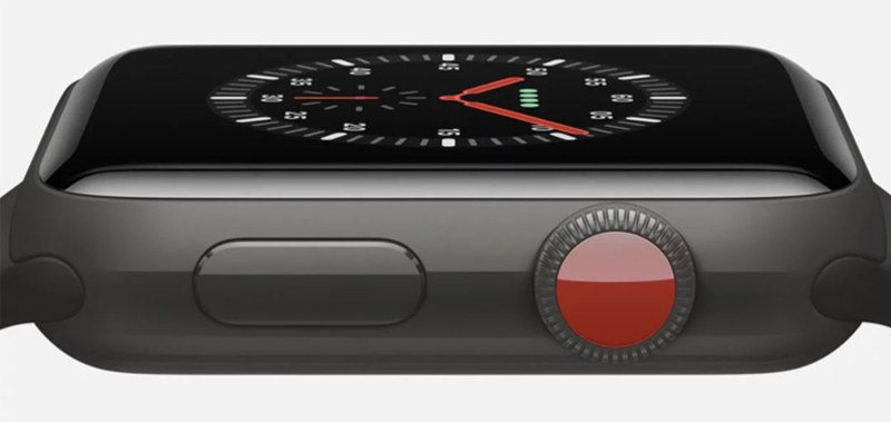 Đồng hồ Apple Watch 3 có gắn SIM - Thiết kế màu đỏ nổi bật của nút bấm tiện ích Digital Crown và nút nguồn