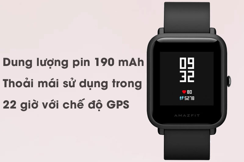 Dung lượng pin của smartwacth Xiaomi Amazfit Bip Đen