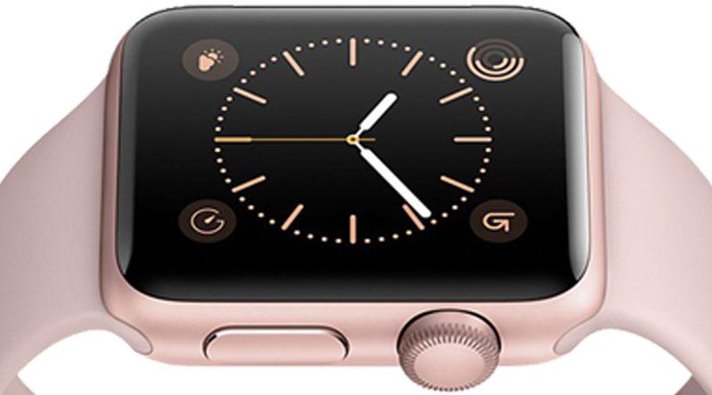 Nút bấm trên Apple Watch S3 GPS, 38mm viền nhôm, dây màu trắng xám