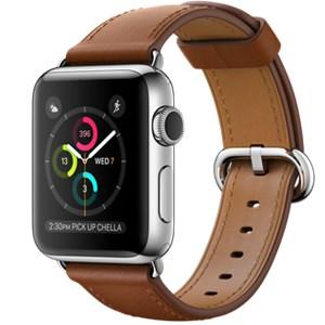 Apple Watch S2 42mm mặt thép không gỉ, dây da màu nâu