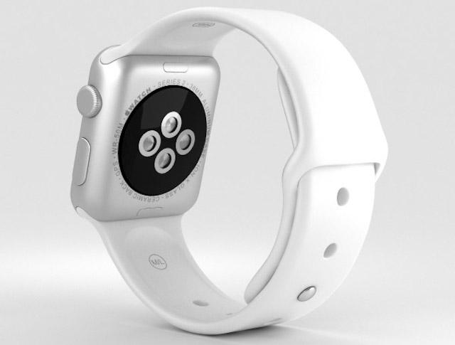 Apple Watch S2 38mm - Mặt dưới Apple Watch là cụm cảm biến dùng để đo nhịp tim và cũng là nơi đặt sạc không dây