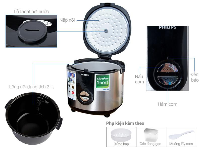 Thông số kỹ thuật Nồi cơm điện Philips HD3128/66 Bạc 2 lít