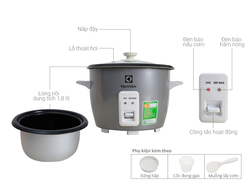 Thông số kỹ thuật Nồi cơm điện Electrolux 1.8 lít ERC1800
