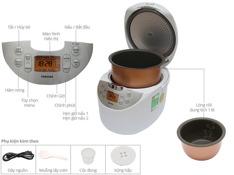 Thông số kỹ thuật Nồi cơm điện tử Toshiba RC-10NAFVN(W) 1 lít