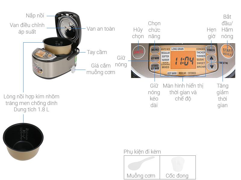 Thông số kỹ thuật Nồi cơm điện cao tần Zojirushi 1.8 lít ZONC-NP-HRQ18-XT