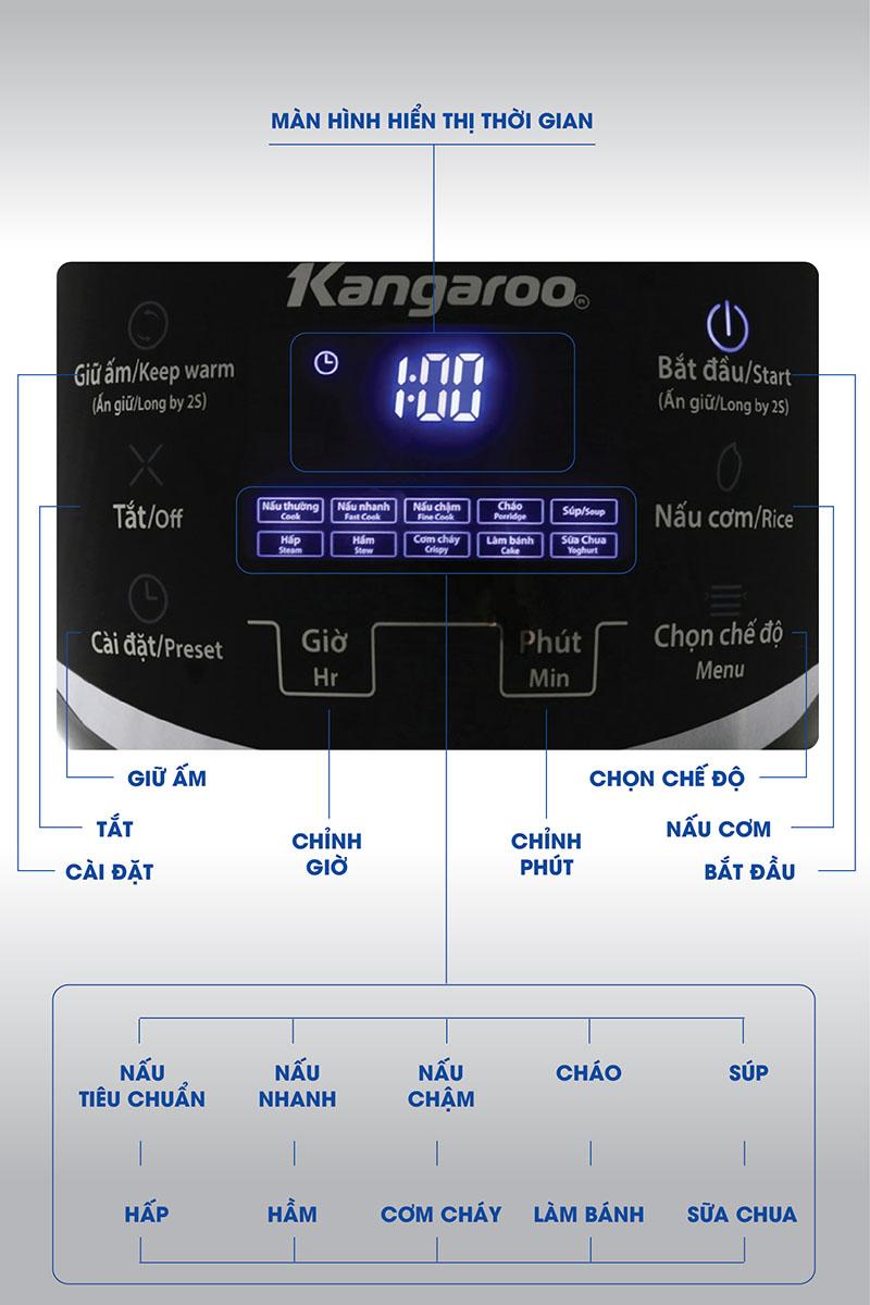 Bảng điều khiển - Nồi cơm điện tử 1.8 lít Kangaroo KG595