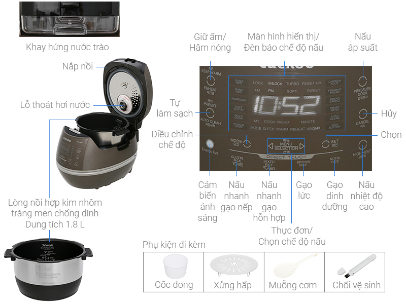 Thông số kỹ thuật Nồi cơm điện cao tần Cuckoo 1.8 lít CRP- CHSS1009FN