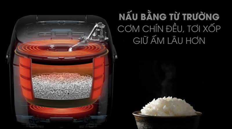 Cơm được nấu chín nhanh, đều, ngon nhờ công nghệ nấu cao tần - Nồi cơm điện cao tần Cuckoo 1.8 lít CRP- CHSS1009FN