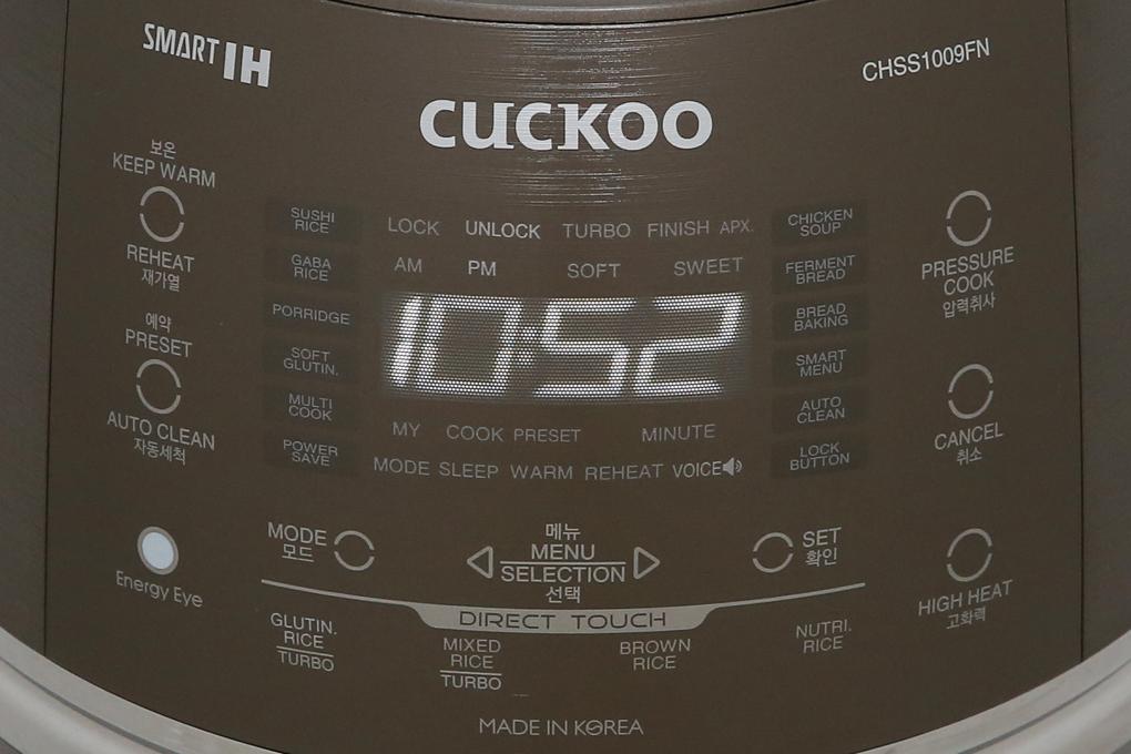 Bảng điều khiển cảm ứng kèm màn hình hiển thị rõ nét - Nồi cơm điện cao tần Cuckoo 1.8 lít CRP- CHSS1009FN