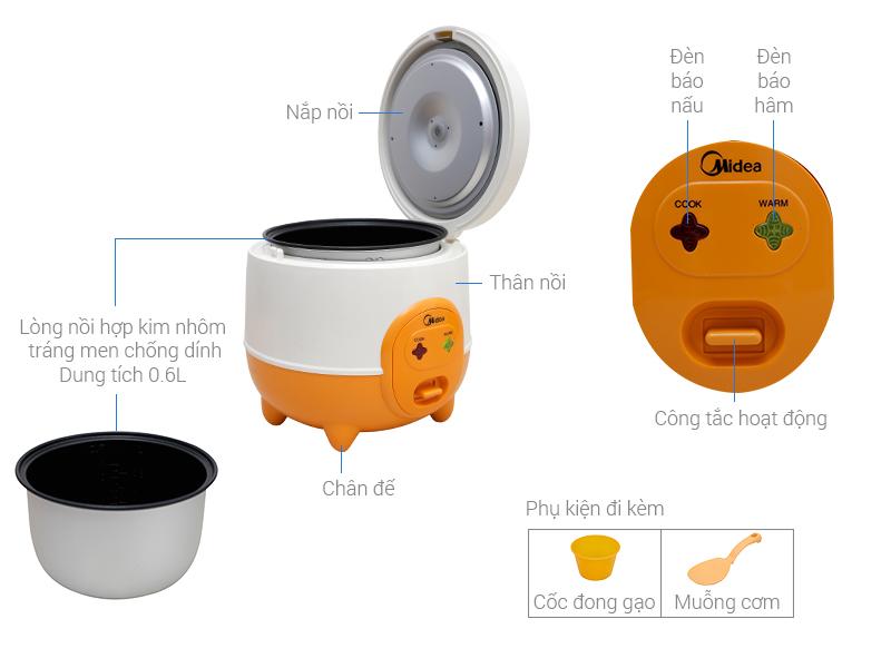 Thông số kỹ thuật Nồi cơm điện Midea 0.6 lít MR-CM06SD
