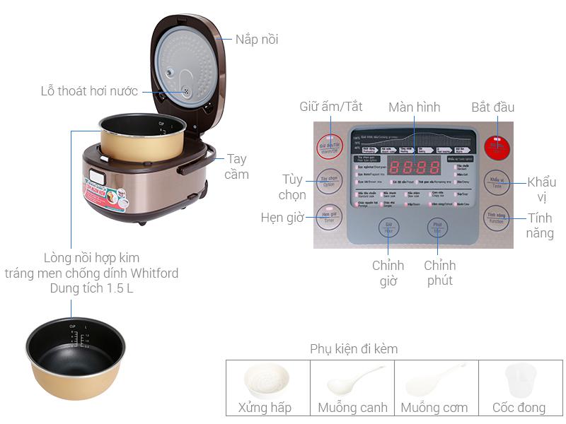 Thông số kỹ thuật Nồi cơm điện tử Sunhouse mama 1.5 lít SHD8915
