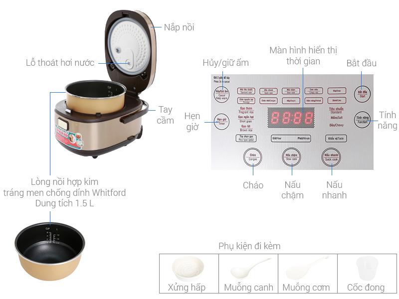 Thông số kỹ thuật Nồi cơm điện cao tần Sunhouse Mama 1.5 lít SHD8955