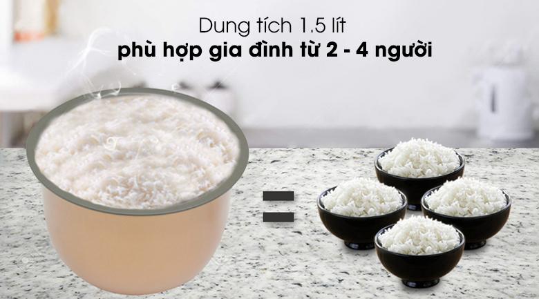 Nồi cơm điện cao tần Sunhouse Mama 1.5 lít SHD8955 - Dung tích 1.5 lít phục vụ tốt cơm ngon cho 2 – 4 người