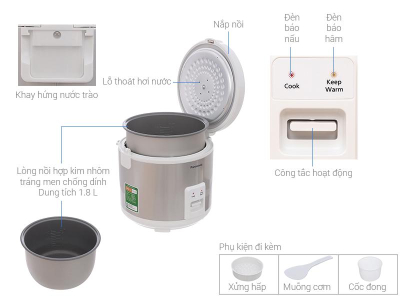 Thông số kỹ thuật Nồi cơm điện Panasonic 1.8 lít SR-MVN187LRA
