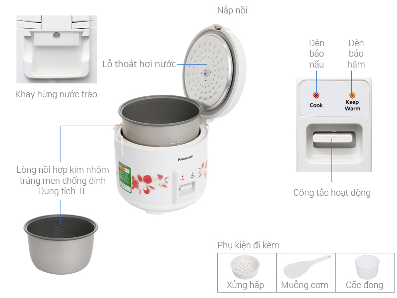 Thông số kỹ thuật Nồi cơm điện Panasonic 1 lít SR-MVN107HRA