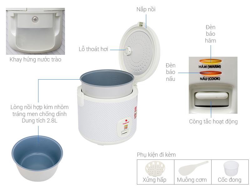 Thông số kỹ thuật Nồi cơm điện Happycook 2.8 lít HCJ-280