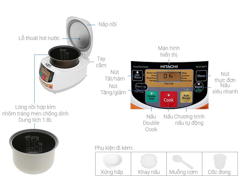 Thông số kỹ thuật Nồi cơm điện tử Hitachi 1 lít RZ-D10XFY