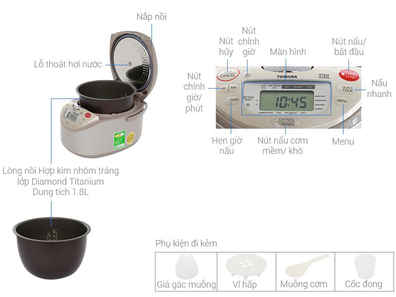 Thông số kỹ thuật Nồi cơm điện cao tần Toshiba 1.8 lít RC-18RH(CG)VN