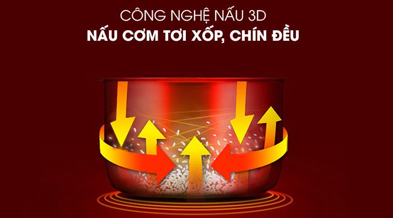 Công nghệ nấu 3D - Nồi cơm điện Kangaroo 1.2 lít KG822 đỏ