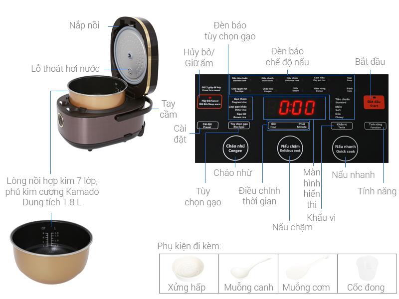 Thông số kỹ thuật Nồi cơm điện cao tần Kangaroo 1.8 lít KG599N