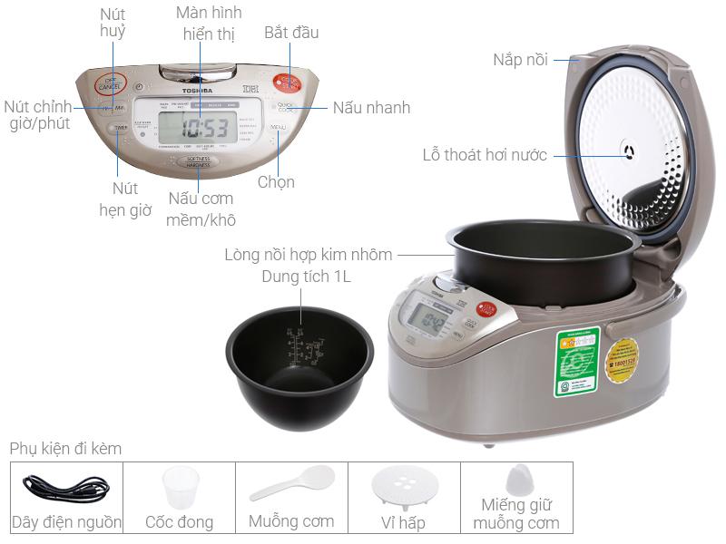 Thông số kỹ thuật Nồi cơm điện cao tần Toshiba 1 lít RC-10RH(CG)VN