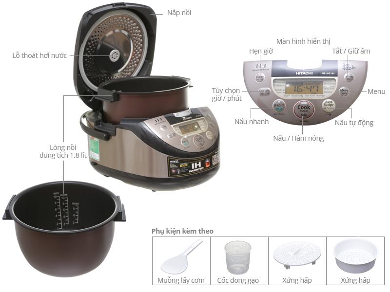 Thông số kỹ thuật Nồi cơm điện cao tần Hitachi 1.8 lít RZ-JHE18Y
