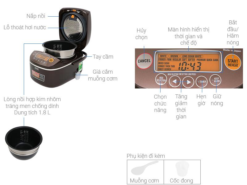 Thông số kỹ thuật Nồi cơm điện cao tần Zojirushi 1.8 lít NP-BSQ18V-TA