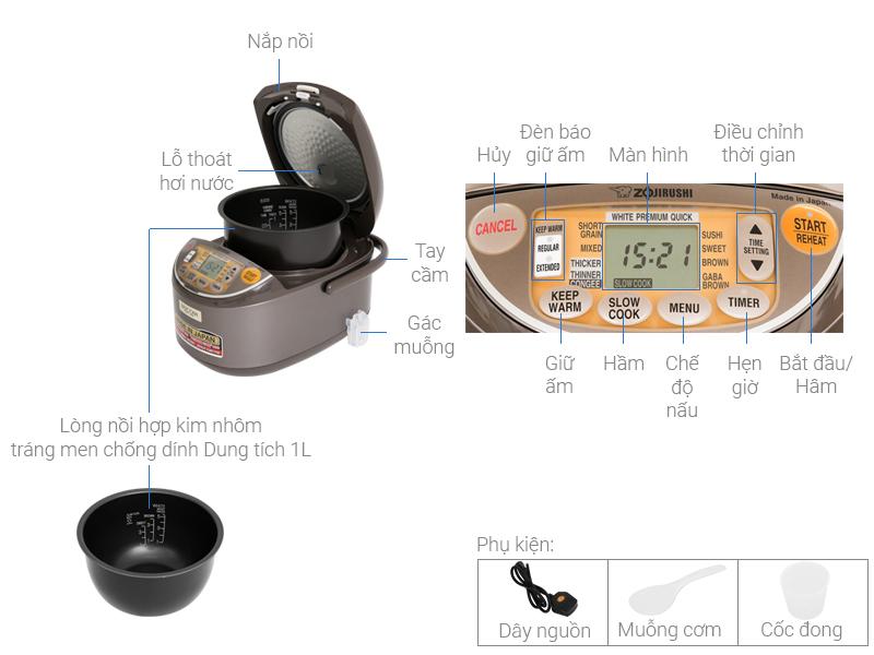Thông số kỹ thuật Nồi cơm điện tử Zojirushi 1 lít NS-YSQ10-XJ