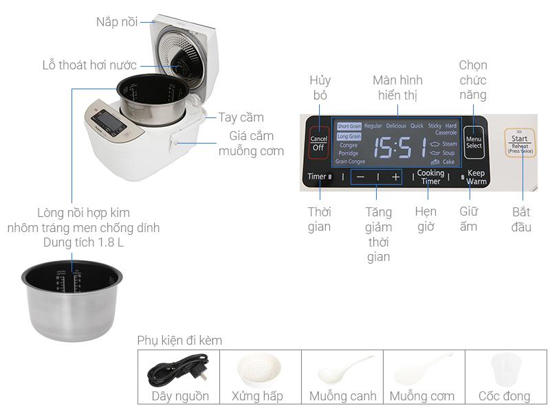 Thông số kỹ thuật Nồi cơm điện cao tần Panasonic 1.8 lít SR-AFM181WRA
