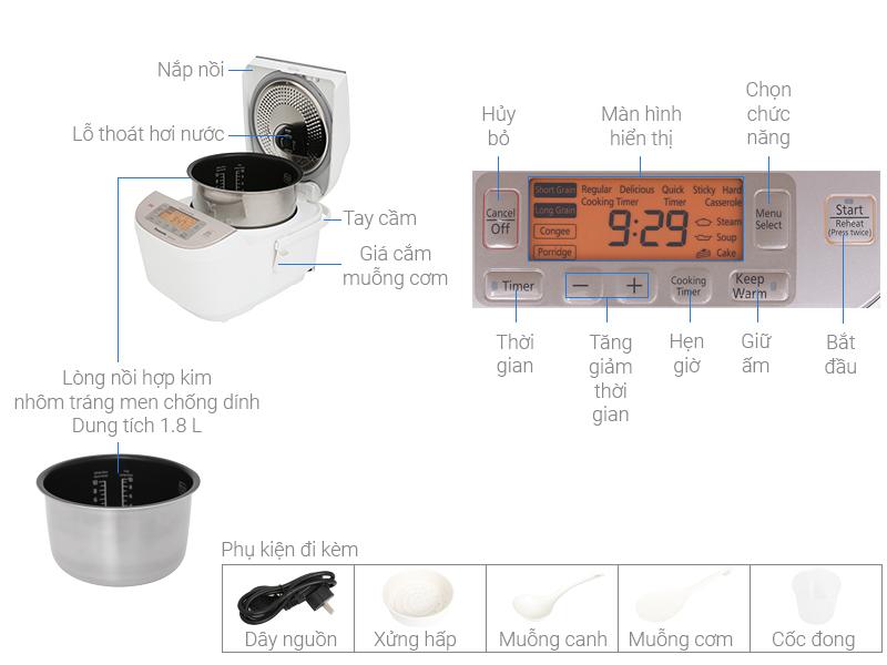 Thông số kỹ thuật Nồi cơm điện cao tần Panasonic 1.8 lít SR-AFY181WRA