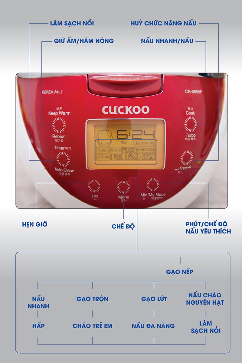 Bảng điều khiển hiện đại - Nồi cơm điện tử Cuckoo CR-0655F Trắng Đỏ