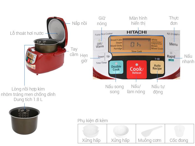 Thông số kỹ thuật Nồi cơm điện tử Hitachi 1.8 lít RZ-D18WFY (RE)