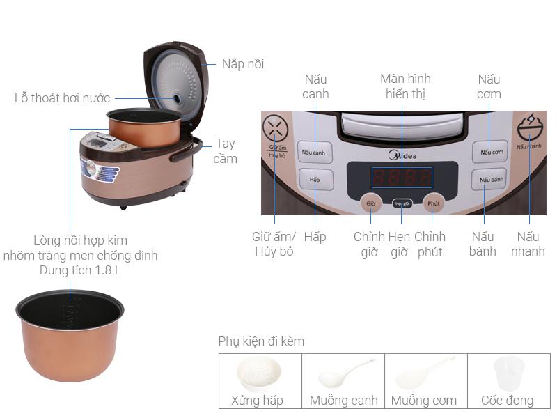 Thông số kỹ thuật Nồi cơm điện tử Midea 1.8 lít MB-FS5017