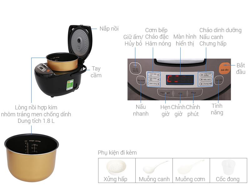 Thông số kỹ thuật Nồi cơm điện tử Midea 1.8 lít MB-FS5018B