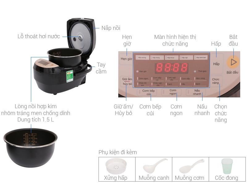 Thông số kỹ thuật Nồi cơm điện cao tần Midea 1.5 lít MB-HS4007