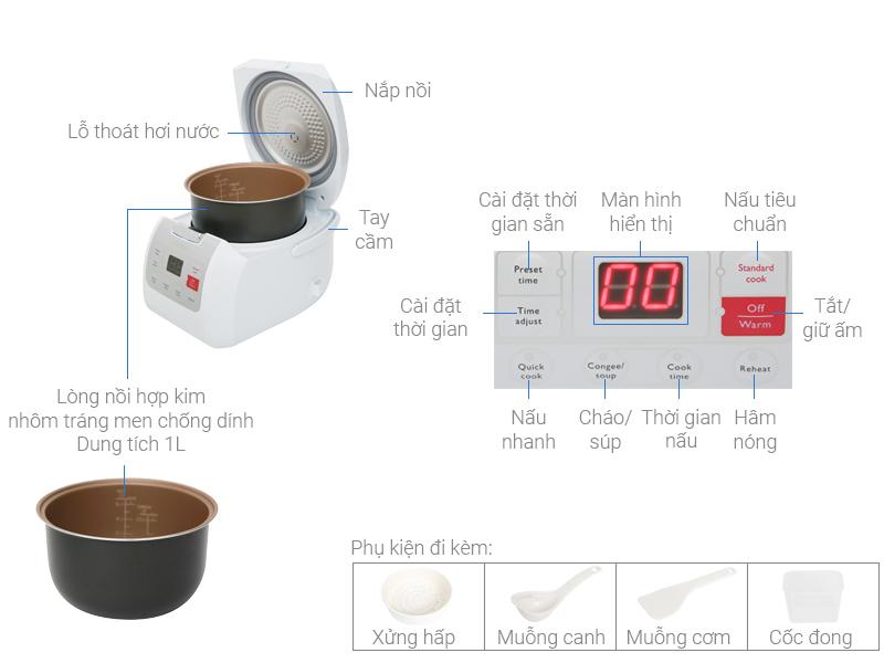 Thông số kỹ thuật Nồi cơm điện tử Philips 1 lít HD3030