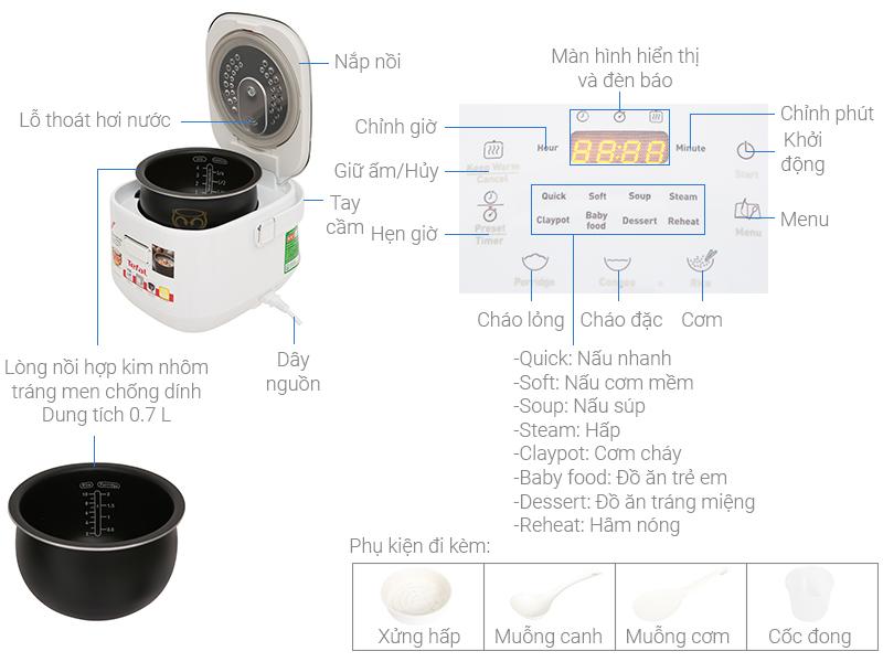 Thông số kỹ thuật Nồi cơm điện cao tần Tefal 0.7 lít RK604165