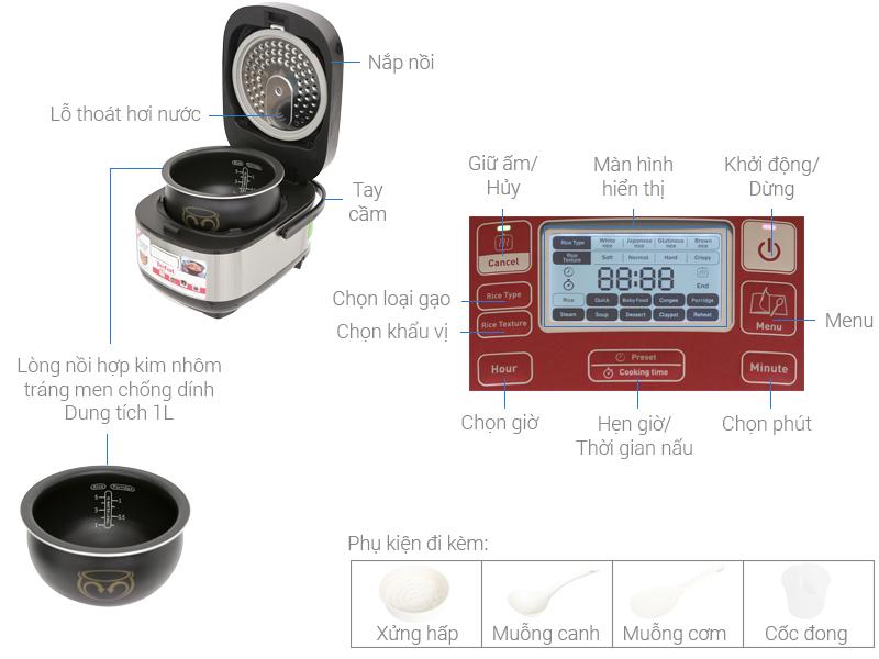 Thông số kỹ thuật Nồi cơm điện cao tần Tefal 1 lít RK 803565
