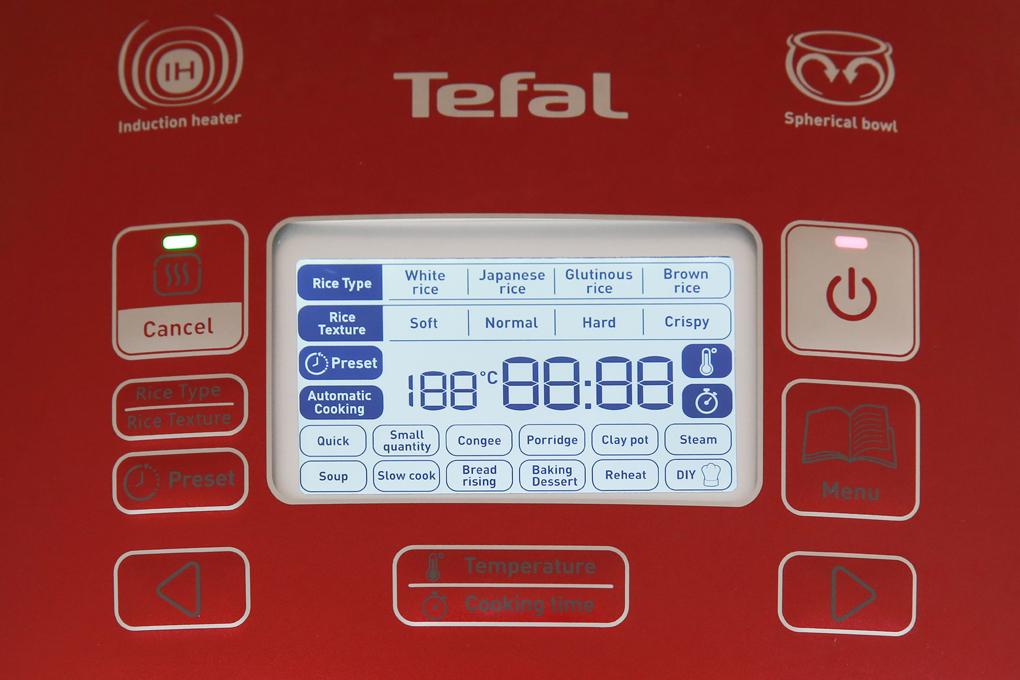 Bảng điều khiển điện tử kèm màn hình hiển thị rõ nét, tiện quan sát, tùy chỉnh - Nồi cơm điện cao tần Tefal 1.8 lít RK805565
