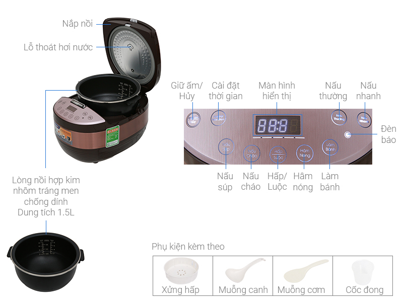 Thông số kỹ thuật Nồi cơm điện cao tần Bluestone 1.5 lít RCB-5987