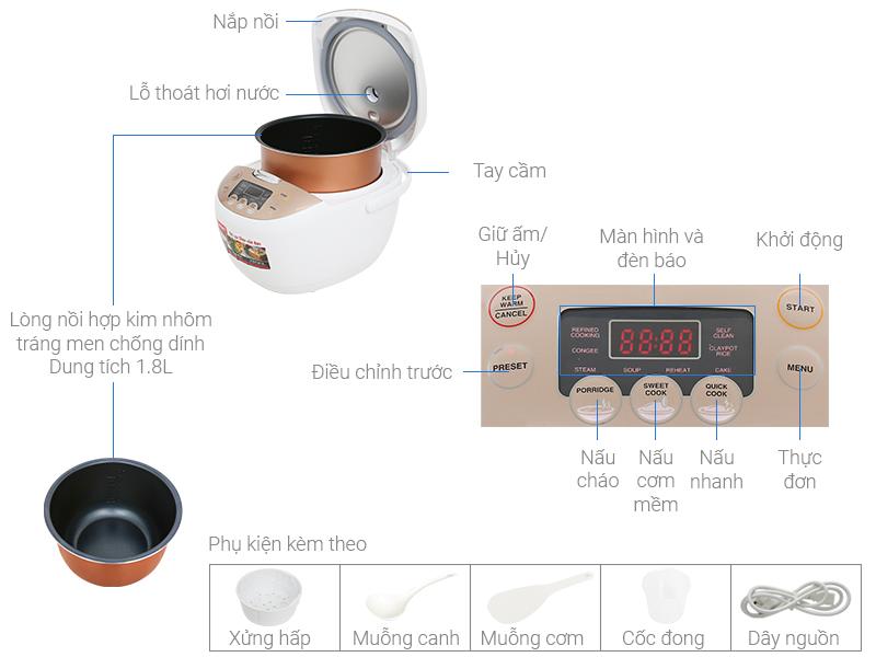 Thông số kỹ thuật Nồi cơm điện tử Sharp KS-COM181CV-GL