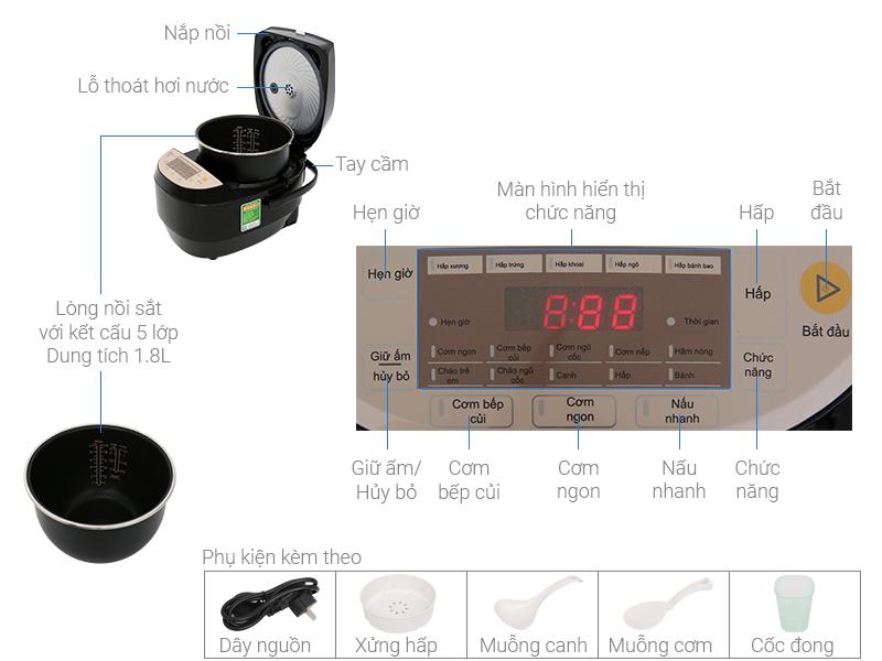 Thông số kỹ thuật Nồi cơm điện cao tần Midea 1.8 lít MB-HS5007