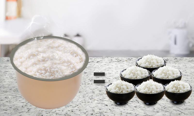Nấu đủ cơm cho gia đình có 4 - 6 thành viên với dung tích 1.8 lít - Nồi cơm nắp gài Sunhouse 1.8 lít SHD8607W