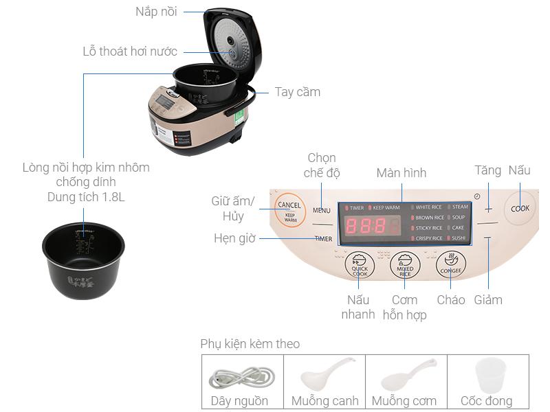 Thông số kỹ thuật Nồi cơm điện tử Toshiba 1.8 lít RC-18DR1NV