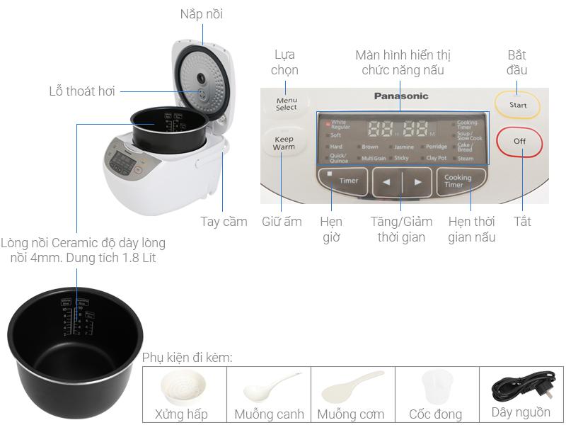Thông số kỹ thuật Nồi cơm điện tử Panasonic 1.8 lít SR-CX188SRA