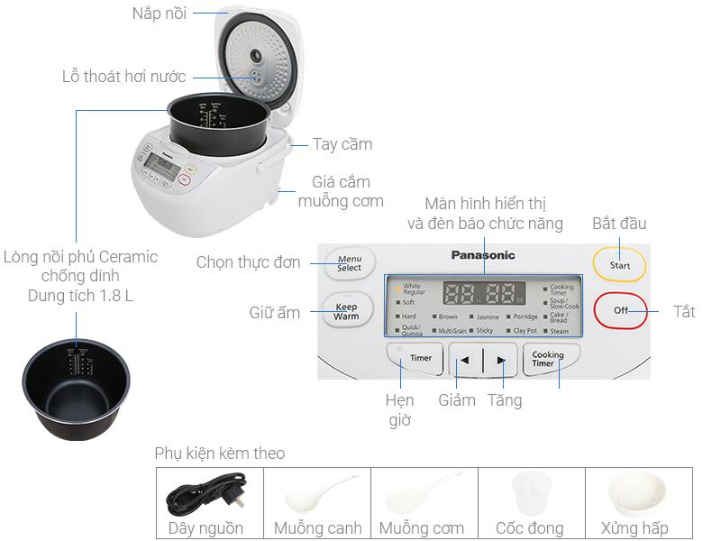 Thông số kỹ thuật Nồi cơm điện tử Panasonic 1.8 lít SR-CL188WRA