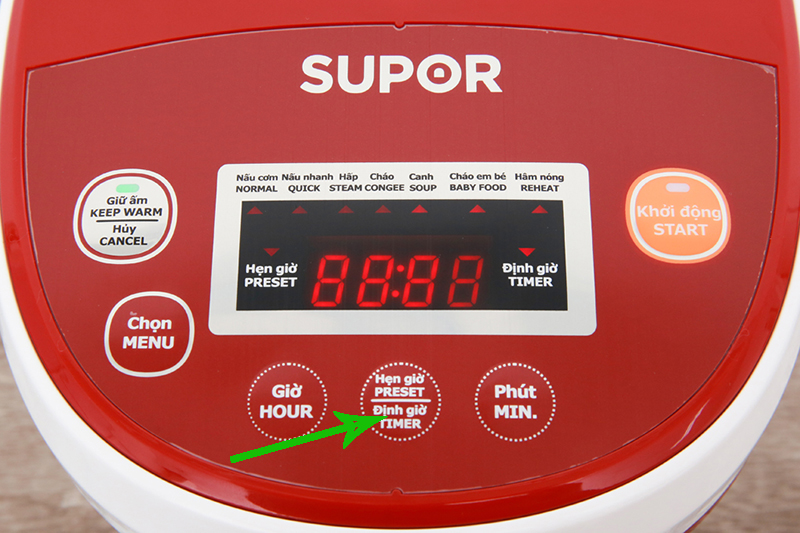 Hẹn giờ nấu tiện dụng - Nồi cơm điện tử Supor 0.8 lít CFXB20FC17A-35